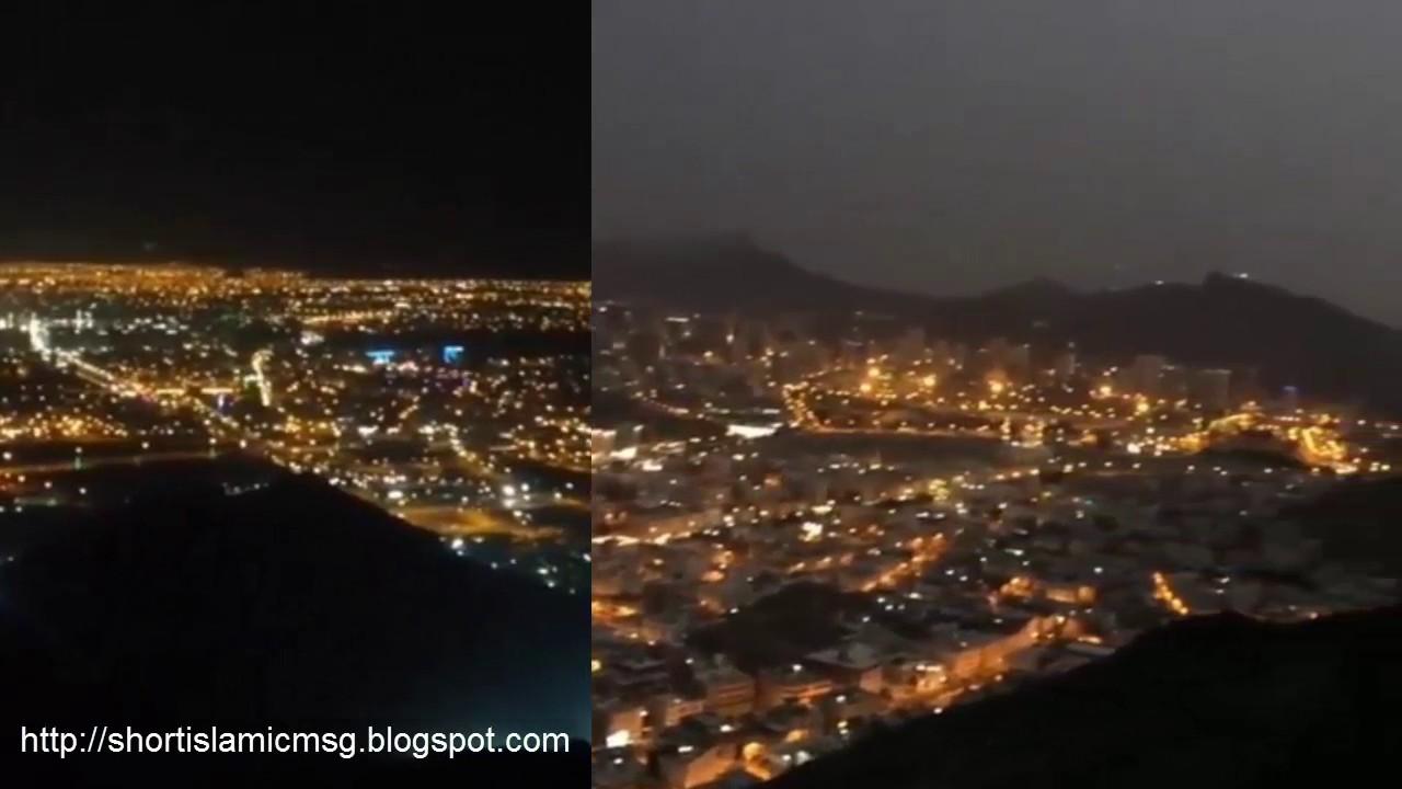A Night View Of Makkah City Youtube