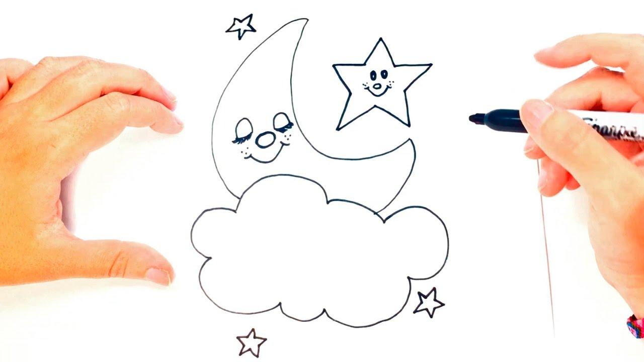 C mo dibujar una luna para ni os dibujo de la luna paso - Dibujos de lunas infantiles ...