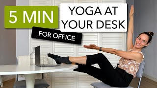 5 MIN YOGA AT YOUR DESK - stretching exercises on your chair, at work, in the office or at home