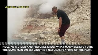 2nd video of a man near thermal feature in Yellowstone National Park