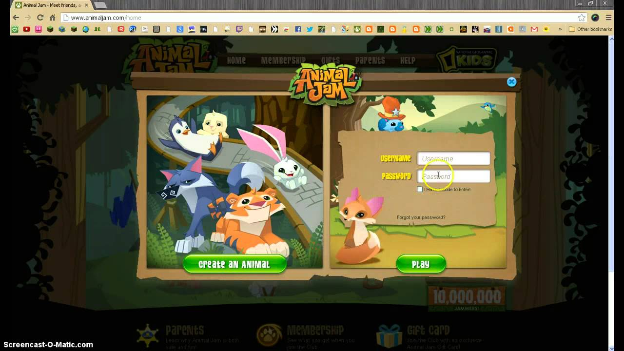 animal jam game sign in