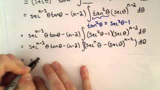 Reduction Formula for: Integral of  [ sec(x) ] ^ n dx