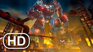 Transformers Metroplex Awakens & Kills Megatron Scene 4K ULTRA HD