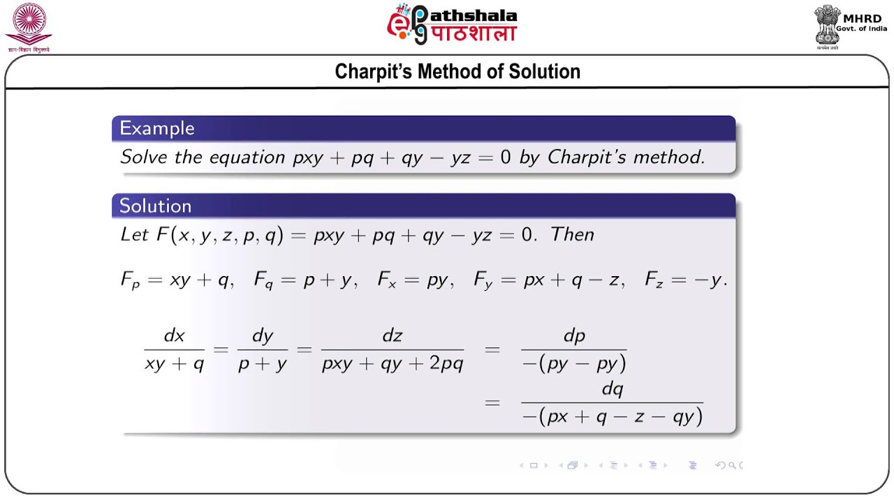 Charpit's and Jacobi's methods of solving first-order partial differential  equations (Math)