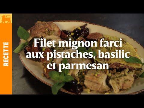 Filet mignon farci aux pistaches, basilic et parmesan