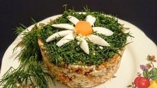 Вкусный салат с курицей и шампиньонами рецепт Секрета приготовления салата на новый год