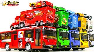 Learning Color Disney Pixar Cars Lightning McQueen Mack Truck City Bus Play for kids car toys