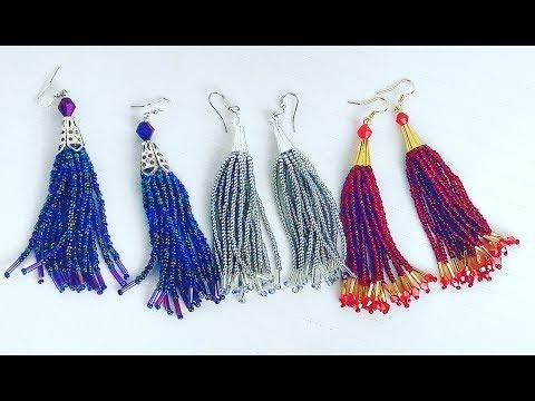 How To Make  Beaded Tassel Earrings - Easy Tutorial Tassel Earrings Making