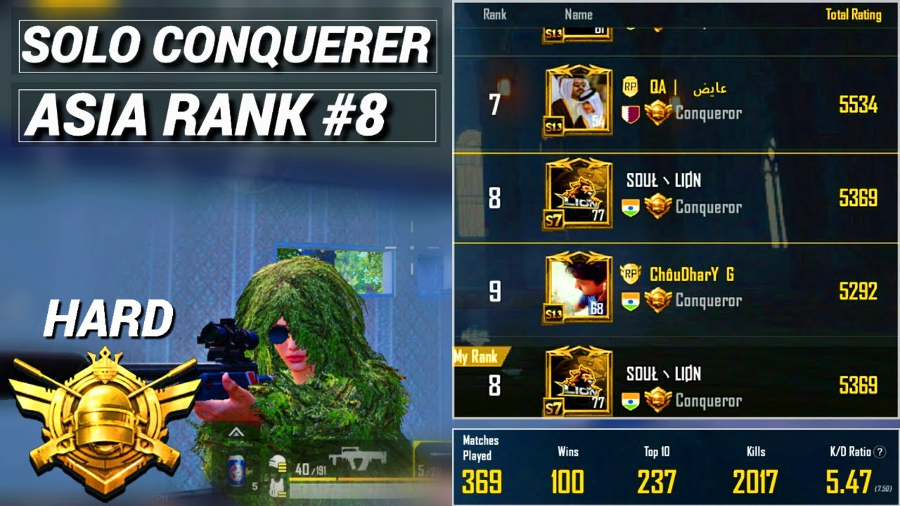 PUBG MOBILE   SOLO ASIA RANK #8   BEST SOLO CONQUEROR GAMEPLAY   SOLO WINS TITLE #7   SOUL LION