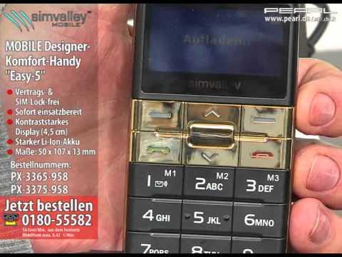 """simvalley MOBILE Designer-Komfort-Handy """"Easy-5"""" Gold"""