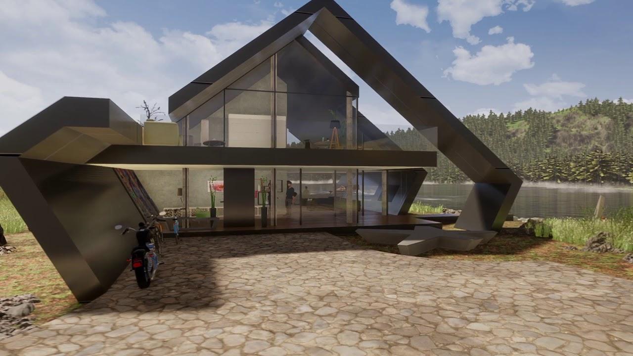 Architektenhaus Satteldach In Moderner Architektur Designstudie Oblique