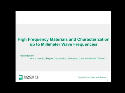 High Frequency Materials and Characterization up to Millimeter Wave Frequencies