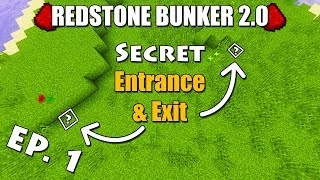 How to Build a Hidden Entrance & Exit in Minecraft - Redstone Bunker 2.0 Episode 1