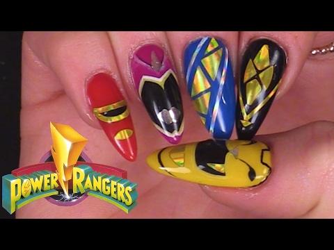 Power Rangers Inspired Nail Art using Gel Polish