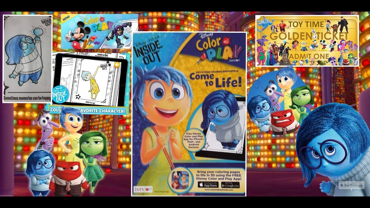 Inside out coloring book pages - Inside Out Disney Pixar Color And Play Book Coloring Book Comes To Life Tickets To Toy Time