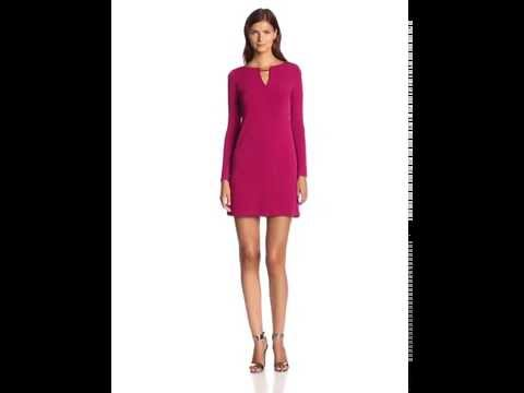 Vince Camuto Women's Long Sleeve Shift Dress with Keyhole Neck and Hardware