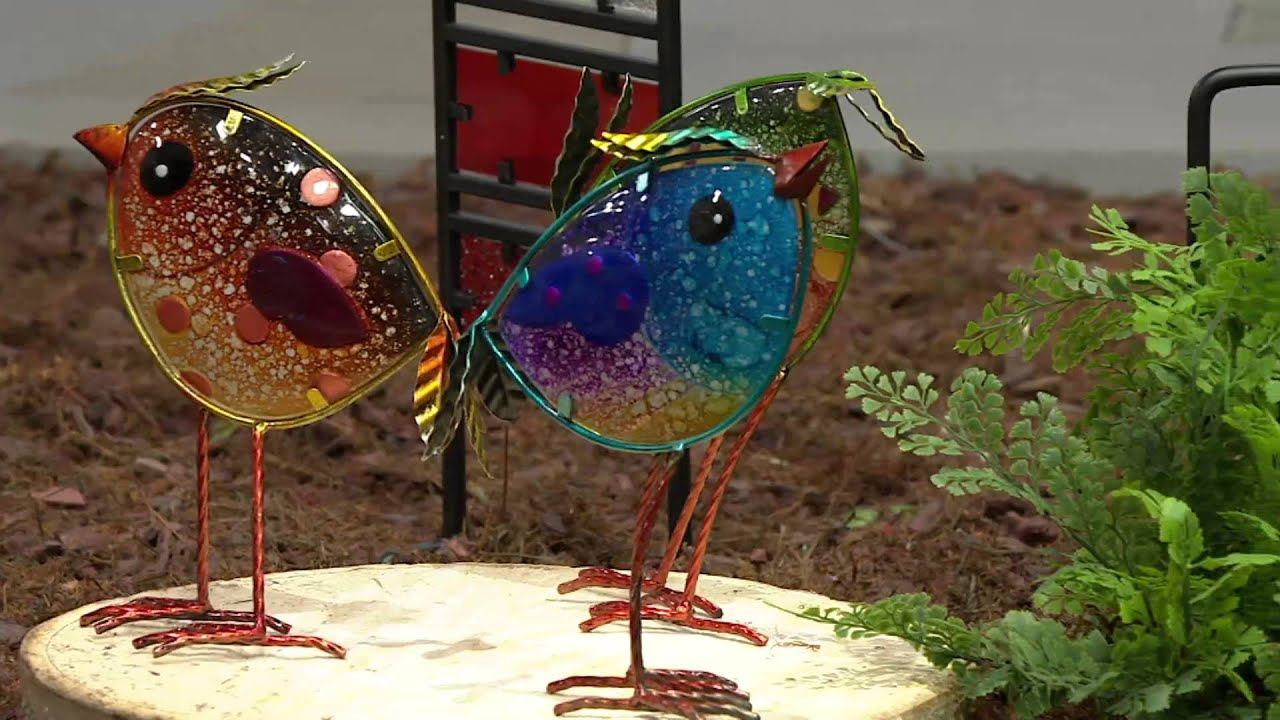Plow & Hearth Set of 3 Colorful Glass Bird Garden Accents on QVC ...