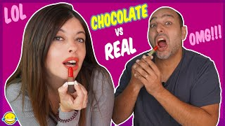 🍫 Chocolate Food vs Real Challenge!! Jordi y Bego de Momentos Divertidos