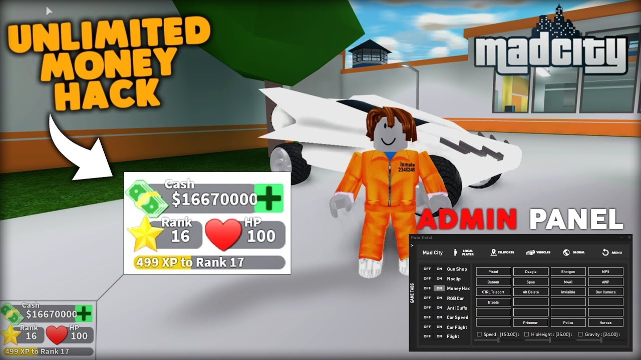 MAD CITY - UNLIMITED MONEY HACK ROBLOX 2/26/2019 - YouTube