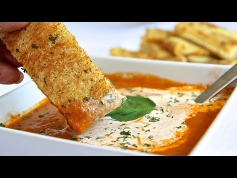 Homemade Roasted Tomato Soup w/ Grilled Cheese Sticks