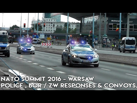 MASSIVE police responses and VIP convoys - Warsaw NATO Summit 2016