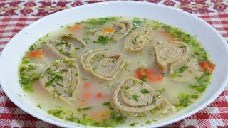 Домашний куриный суп с лапшой или рулетиками с плавленым сыром Еда для диабетика 2 типа