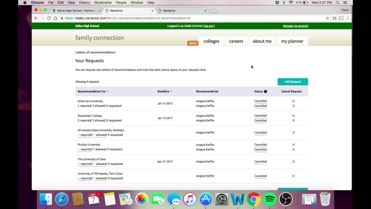 requesting letters of recommendation through naviance 17 18 youtube