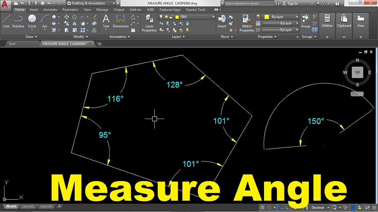 How to Measure Angle in AutoCAD 2022 YouTube