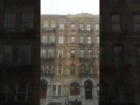 "Album-cover location: Led Zeppelin's ""Physical Graffiti""."