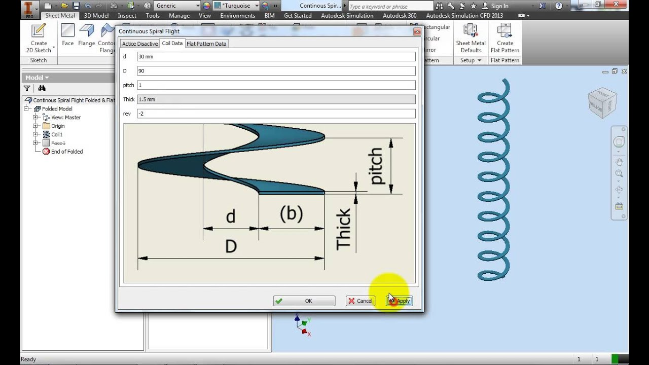 Automate Flat Pattern Of Continuous Spiral Flight Design