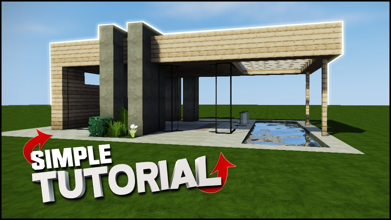 Minecraft house tutorial wooden modern house best house for Modern wood house
