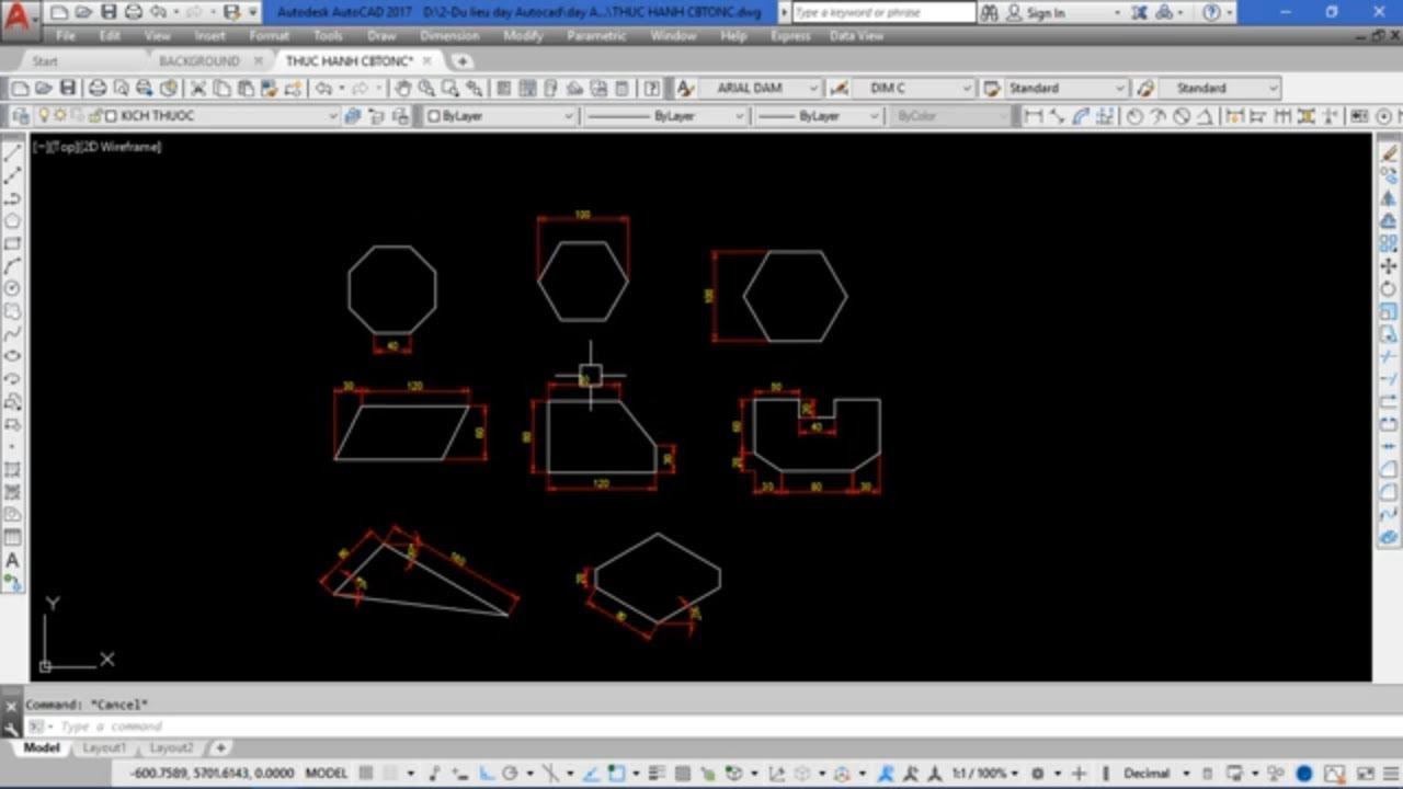 Thực hành vẽ AutoCAD 2D từ  cơ bản đến nâng cao | Bài tập 1