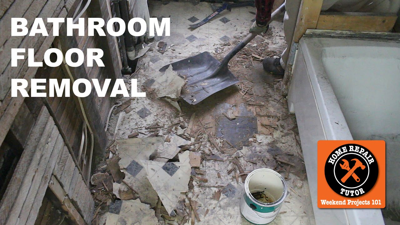 How To Remove A Bathroom Floor Step By Step By Home Repair Tutor Youtube