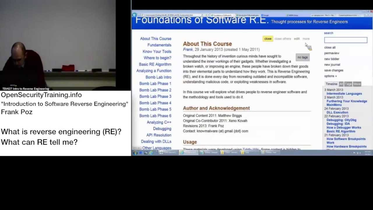 2013 Day1 P1: Intro to REing Software - What is reverse engineering and  what can it tell me?