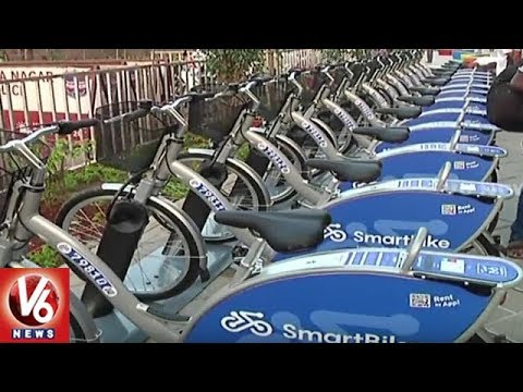 Metro Rail Introduces Smart Bikes At Miyapur Metro Station In Hyderabad | V6 News