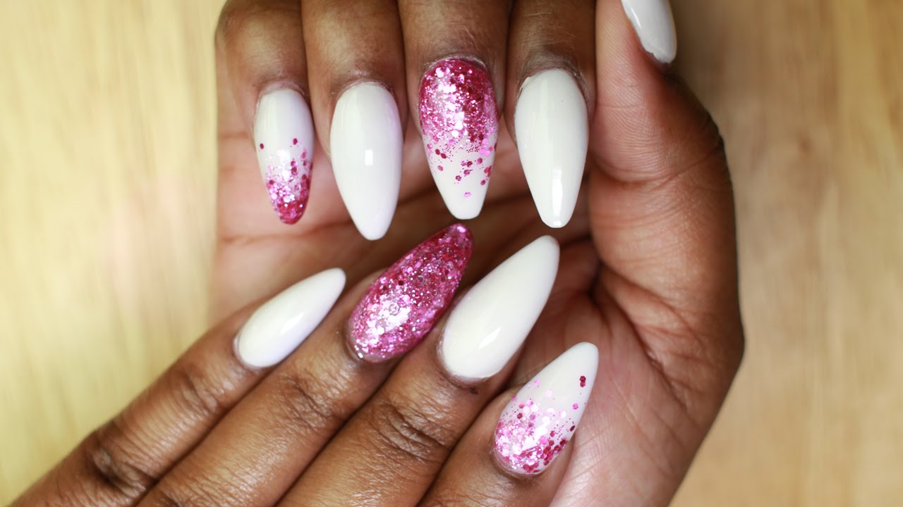 White and Pink Glitter Acrylic Nails (Fill-in) | Born Pretty Store ...