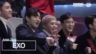 vuclip [2016MAMA x M2] EXO Reaction to Suzy&BaekHyun's performance