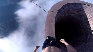 CLIMBING THE TALLEST CHIMNEY IN EUROPE  |  365m.  |  HUMAN FLAG ON THE TOP