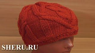 Вязание спицами шапочки Урок 67 часть 1 из 2