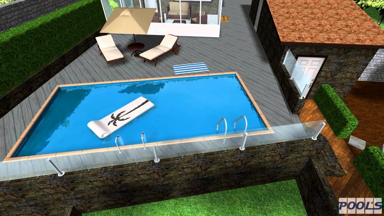 Progettazione piscina privata su terrazza in 3D R.S.piscine s.r.l ...