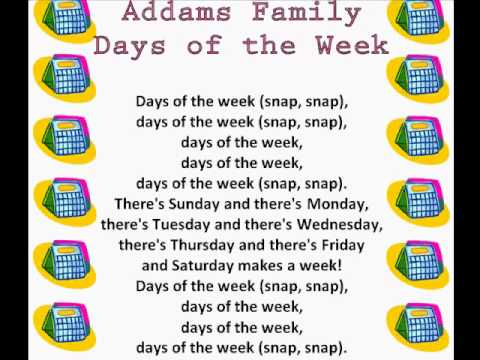 Addams Family Days of the Week (Days of the Week Rhymes & Songs ...