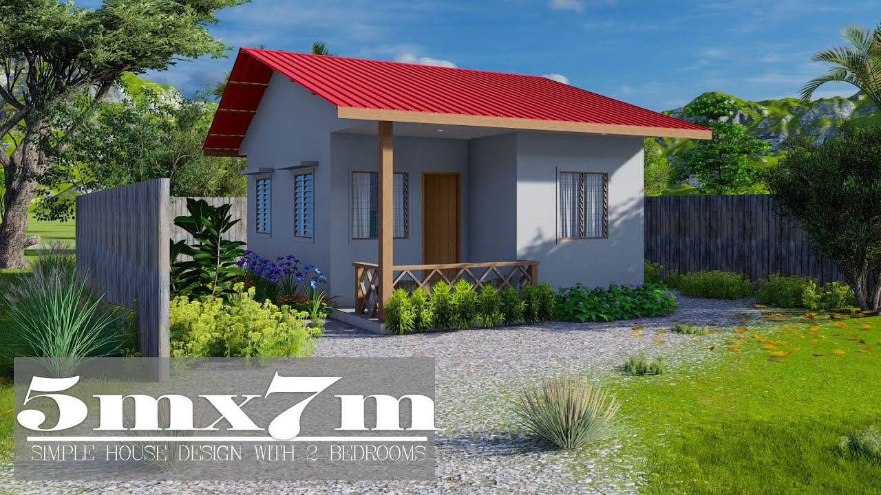 5mx7m Simple House Design with 2 Bedrooms - YouTube