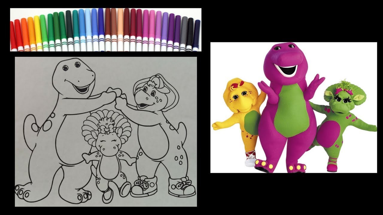 Barney The Dinosaur Coloring And Friends Book Speed Art With Markers To Music