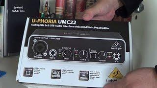 Behringer U-PHORIA UMC22 Audio Interface Unboxing