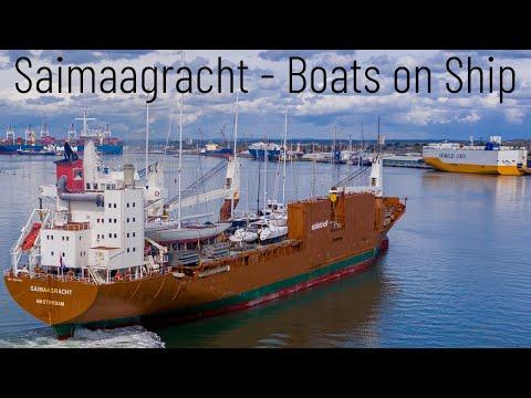 Spliethoff Saimaagracht - Boat Carrier with Geist Superyacht by Spirit Yachts (James Bond has one)