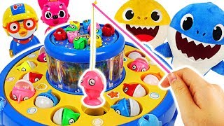 Let's fish with Baby shark, Pinkfong~ Pororo Aquarium Fishing Toy! #PinkyPopTOY