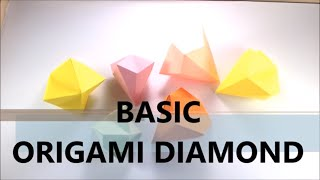 How To Make Easy Origami Diamond - BASIC - Paper Diamond - Origami Tutorial for Beginners - DIY