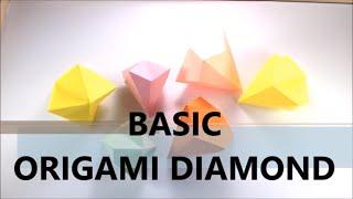 How To Make Easy Origami Diamond - BASIC - Paper Diamond - Origami Tutorial for Beginners - DIY