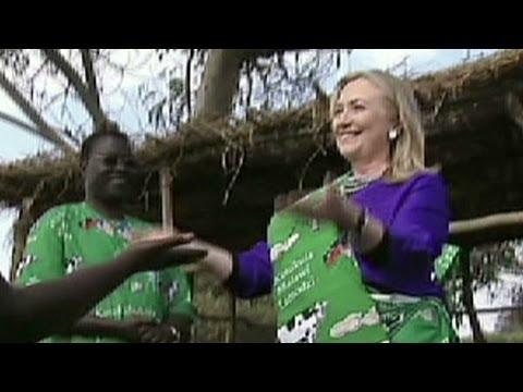 Hillary Clinton dances during a trip to Malawi