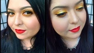Look: Hello, Sunshine! (Bright yellow eyes with bold, bright red lips) Thumbnail